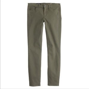 J. Crew | olive green sateen toothpick pants